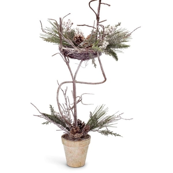 """Set of 2 Iced Artificial Mixed Pine with Cones and Berries Decorative Christmas Topiary Trees 27"""" - green"""
