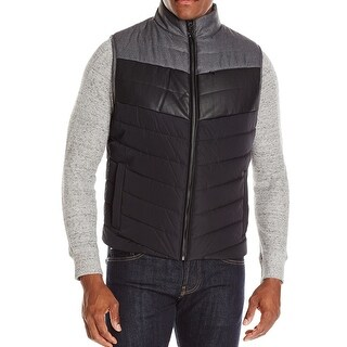 Kenneth Cole Reaction NEW Black Grey Mens Small S Puffer Vest Jacket