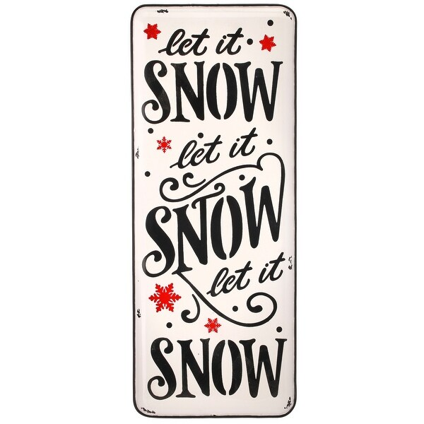 "24"" Black, White, and Red Metal Enamel Let It Snow Christmas Sign. Opens flyout."