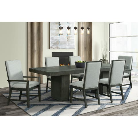 Picket House Furnishings Holden 7PC Standard Height Dining Set-Table, Four Side Chairs & Two Arm Chairs in Gray
