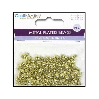 Multicraft Bead Metal Plated Round 3/4/6mm Gold
