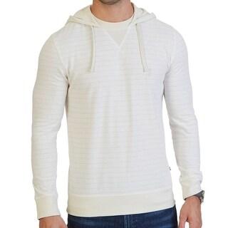 Nautica NEW Beige Bone Striped Mens Size XL Hooded Henley Sweater
