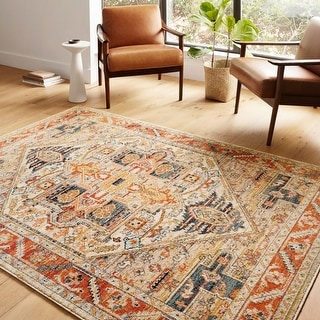 Link to Alexander Home Luxe Antiqued Distressed Boho Area Rug Similar Items in As Is