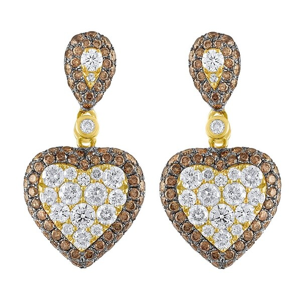 Heart Shape 2.57Ct Natural Brown & White Diamond Designer Push Back Earring - White G-H