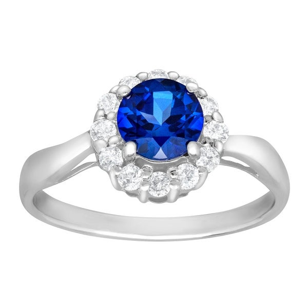 1 5/8 ct Ceylon and White Sapphire Ring in 10K White Gold - Blue