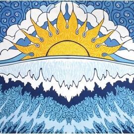 Handmade 100% Cotton Sun Wave Surf Tapestry Tablecloth Spread Twin 60x90 Small 30x45 Dorm Beach