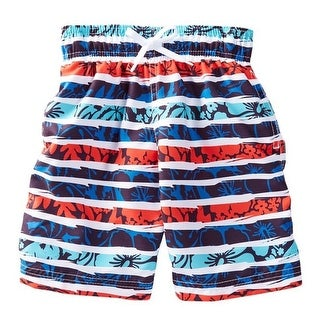 Azul Boys Red Blue Horizontal Stripe In The Groove Swim Shorts
