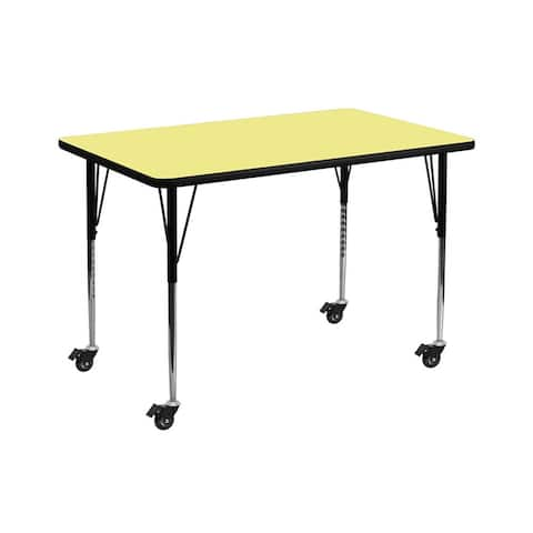 """Offex 30""""W x 48""""L Mobile Rectangular Activity Table with Yellow Thermal Fused Laminate Top and Standard Height Adjustable Leg"""