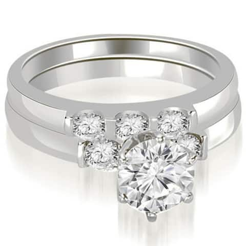 1.25 CT Round Cut 3-Stone Diamond Engagement Bridal Set in 14KT Gold - White H-I