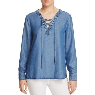 Sanctuary Womens Cafe Casual Top Chambray Lace-Up