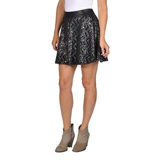 Tractr Womens Long Sequin 2 Layer Skirt Black