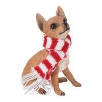 Chihuahua Tan Christmas Holiday Ornament Sculpture