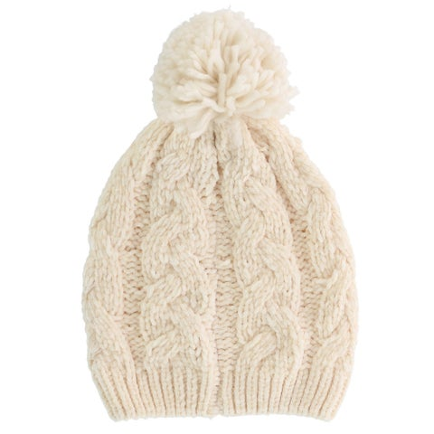 Alexa Rose Women's Chenille Cable Knit Beanie Cap with Knit Pom