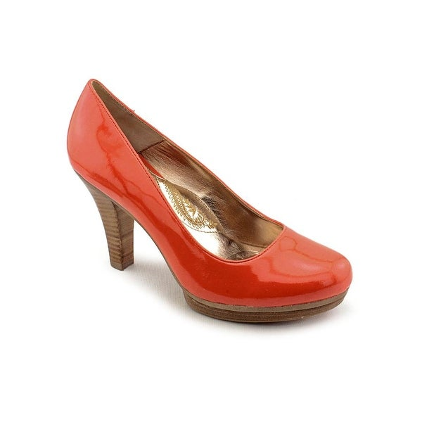 Sofft Broadway Women Round Toe Patent Leather Orange Heels