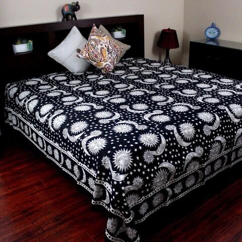 Cotton Celestial Sun Moon & Star Tapestry Wall Hanging Coverlet Bedspread Beach Sheet Dorm Decor Black White Twin