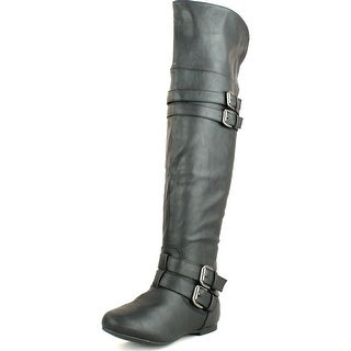 Top Moda Womens Night-79 Over The Knee Round Toe Buckle Riding Flat Boots