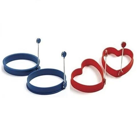 Norpro Silicone Egg Pancake Ring and Hearts (Red - Blue / 1 pair each) - Red / Blue