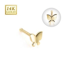 "14 Karat Solid Yellow Gold Butterfly Nose Stud Ring - 20 GA 5/16"" Long (Sold Ind.)"