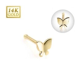 """14 Karat Solid Yellow Gold Butterfly Nose Stud Ring - 20 GA 5/16"""" Long (Sold Ind.)"""