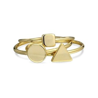 Bling Jewelry Modern Shapes Stackable Midi Rings Set Gold Plated Silver