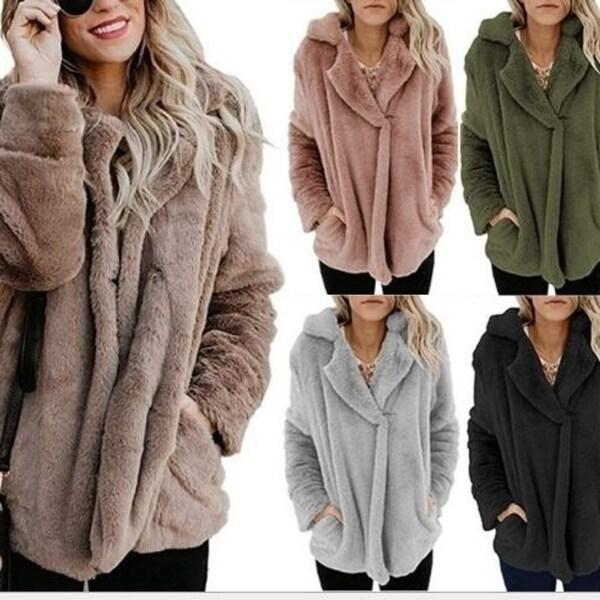 Women's Coat Casual Fleece Winter Oversized Outwear Jackets. Opens flyout.