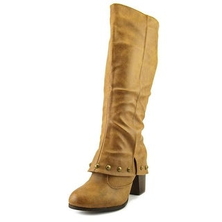 2 Lips Too Too Listed Women Round Toe Synthetic Tan Knee High Boot