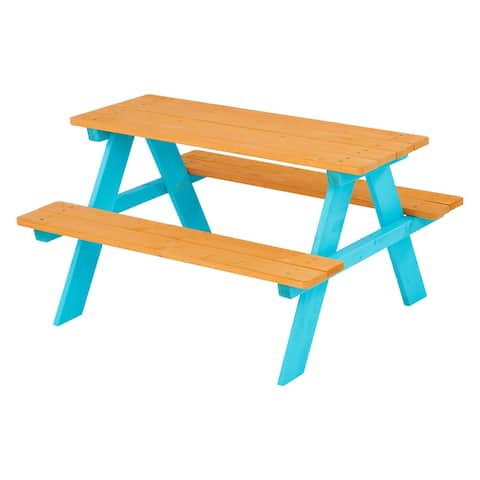 Teamson Kids - Outdoor Picnic Table & Chair Set - Wood / Petrol