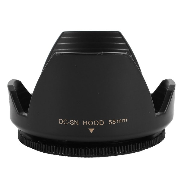 Unique Bargains Digital DSLR Camera Plastic Crown Flower Petal Shaped Lens Hood 58mm Black