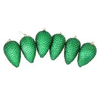6ct Xmas Green Shatterproof Glitter Pine Cone Christmas Ornaments 6.5""
