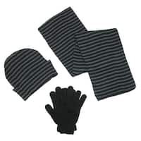 CTM® Men's Knit Striped Hat Gloves and Scarf Winter Set - One size