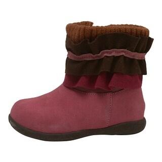 L'Amour Little Girls Fuchsia Nubuck Leather Ruffle Collar Boots 5-10 Toddler