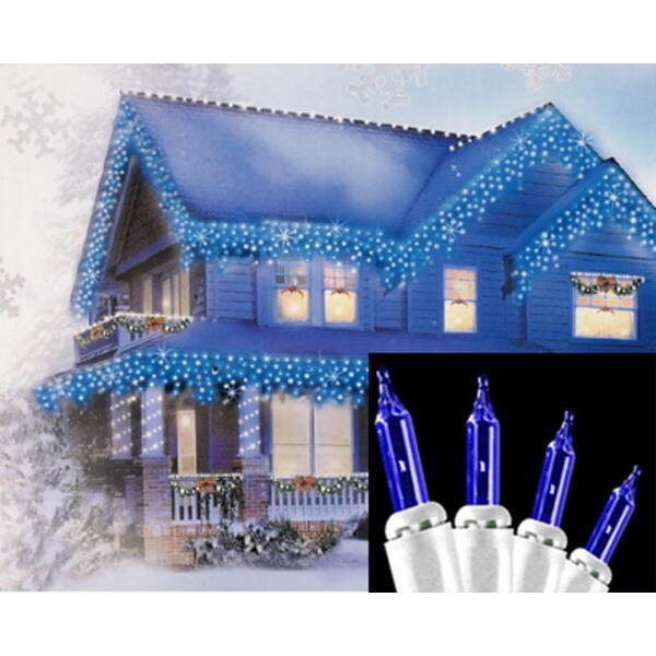 set of 100 blue mini icicle christmas lights white wire