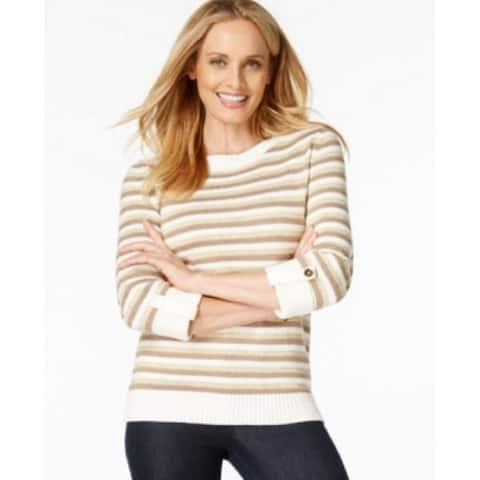 Karen Scott Womens Cuffed-sleeve Gold White Striped Sweater Khaki (S) - Multicoloredchocolate - 16