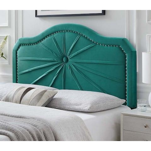 Edmond Green Velvet Upholstered Twin Size Headboard with Nailhead Trim