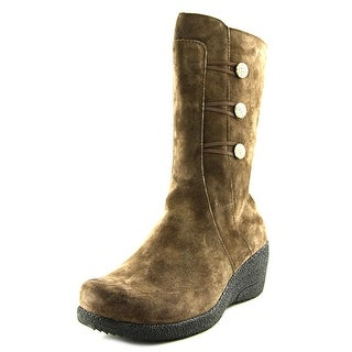 Propet Simone Women Round Toe Suede Brown Mid Calf Boot