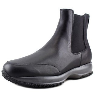 Hogan Interactive Stivaletto Elastico Youth Round Toe Leather Black Ankle Boot