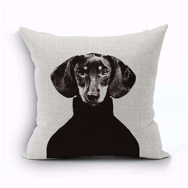 Luxury Design dachshund in sweater designer throw pillow