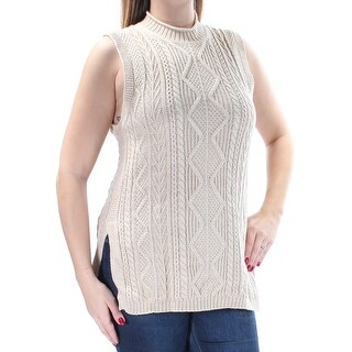 Womens Beige Sleeveless Jewel Neck Casual Sweater Size L