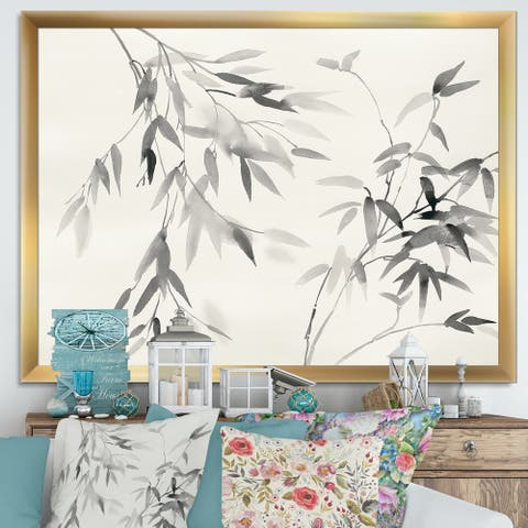 Designart 'Bamboo Leaves II' Farmhouse Premium Framed Art Print