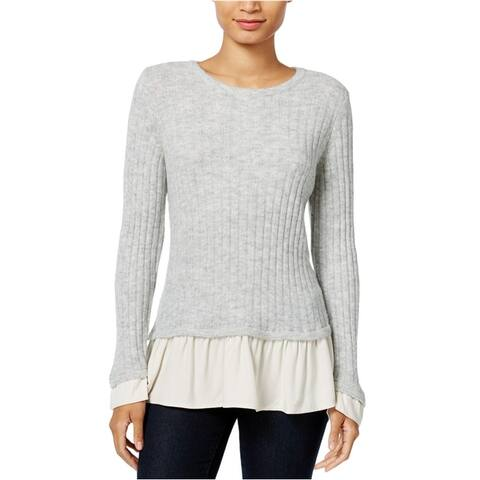 Kensie Womens Ruffled Contrast Pullover Sweater