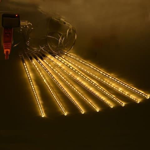 AGPtek 8pcs 50cm Tube Colorful Meteor Shower Rain Lights Snowfall Light for Wedding Party Christmas Decor Warm White - S