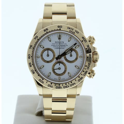 Preowned 116508 Rolex Daytona White Index Dial Yellow Gold - White Index Dial