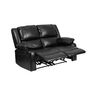 Offex Harmony Series Black Leather Loveseat with Two Built-In Recliners