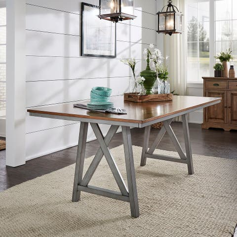 Hillpointe Rectangular Two-Tone Dining Table by iNSPIRE Q Classic