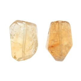 Citrine Gemstone Beads, Smooth Nuggets 10-17mm, 6 Pieces, Honey Yellow