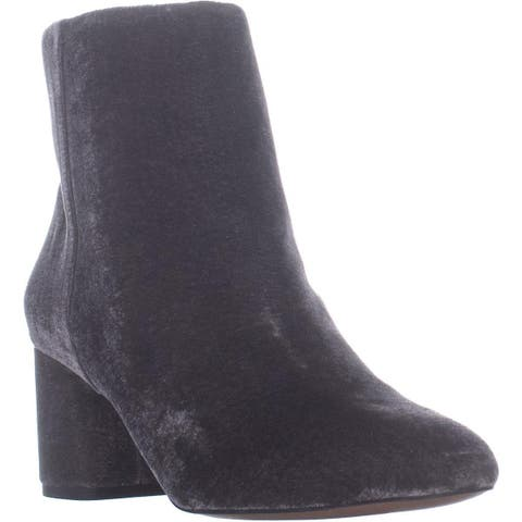 Franco Sarto Jubilee Zip Up Block Heel Ankle Boots, Grey - 8 US / 38 EU