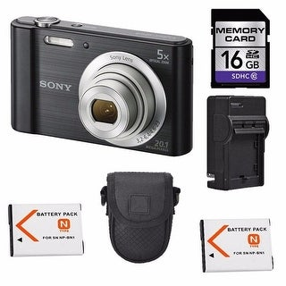 Sony Cyber-shot DSC-W800 Digital Camera + 2 Batteries, 16GB Bundle