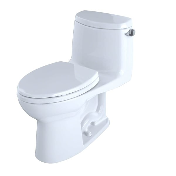 Toto MS604114CEFRG Ultramax II One Piece Elongated 1.28 GPF Toilet with Double Cyclone Flush System, CeFiONtect and Right-Hand