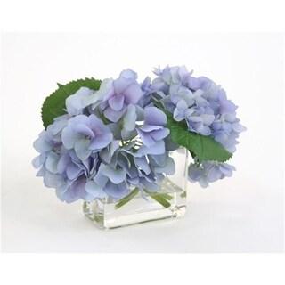 Distinctive Designs 16098 Waterlook Silk Blue Hydrangeas in a Small Rectangular Glass Vase