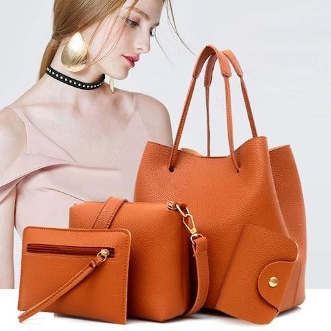 4Pcs Women Fashion Solid Color Soft Faux Leather Shoulder Bag Handbag Purse Set